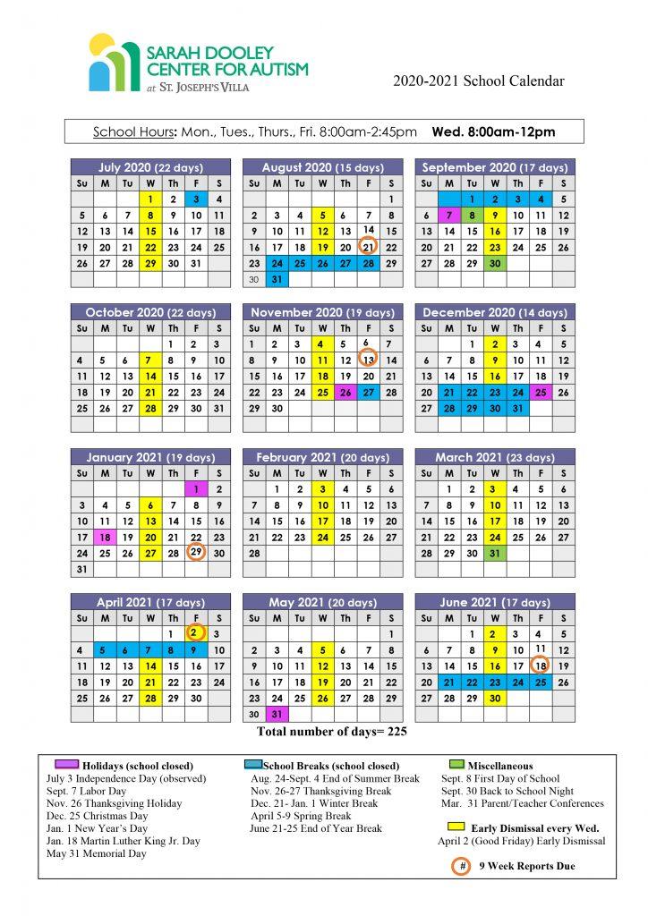 SDCA 2021 School Calendar